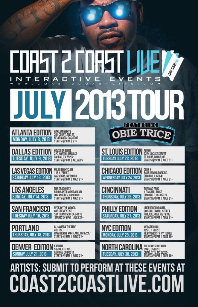 Tour Schedule / 3 FREE DOWNLOADS from @realObieTrice ft @theWILLIETHEKID @JonConnorMusic